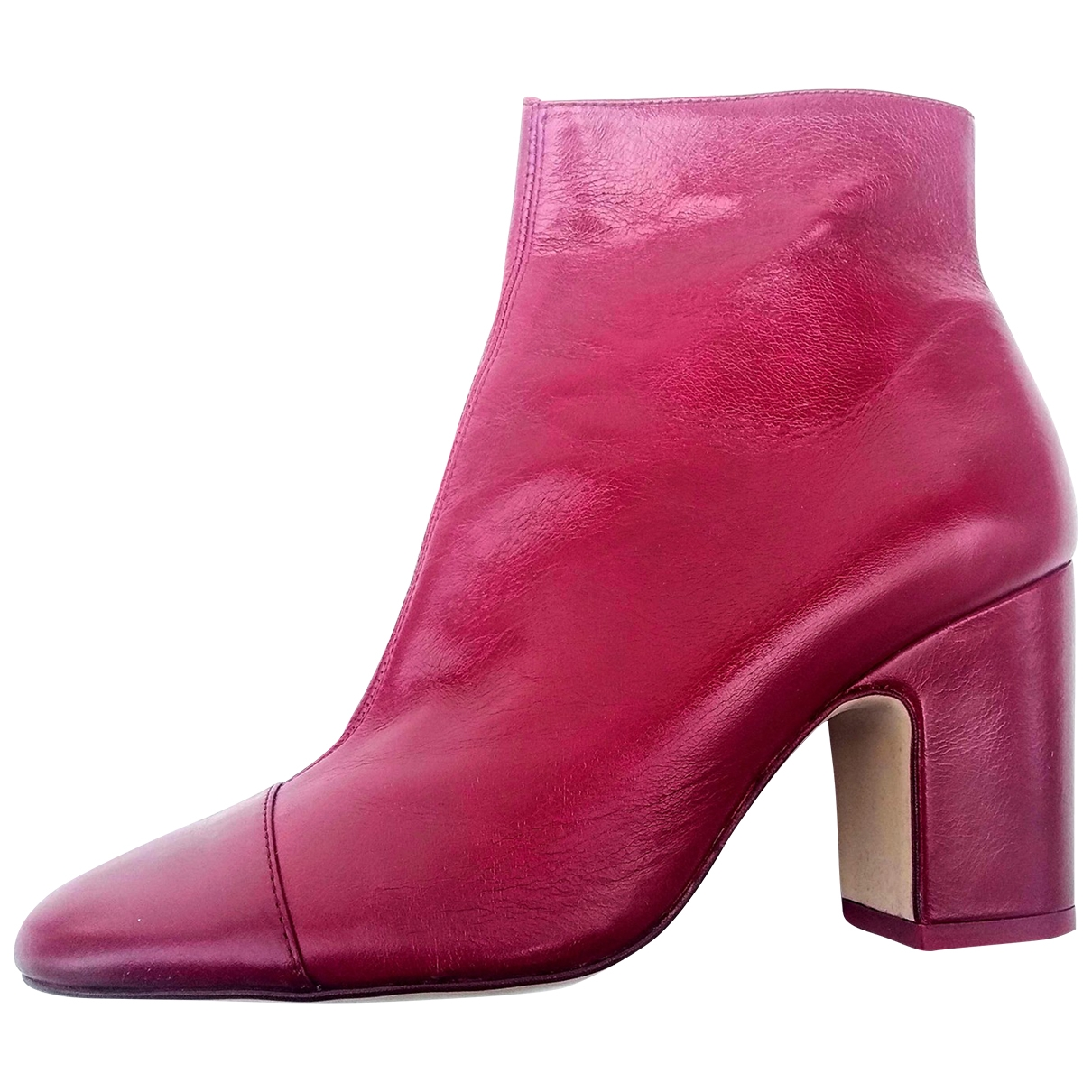 Zara \N Burgundy Leather Ankle boots for Women 39 EU