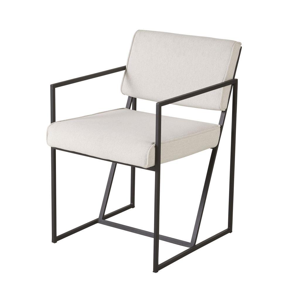 Sessel mit schwarzen Metallfuessen, elfenbeinfarben Cole