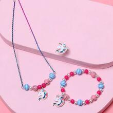 3 piezas set de joya de niñitas con unicornio