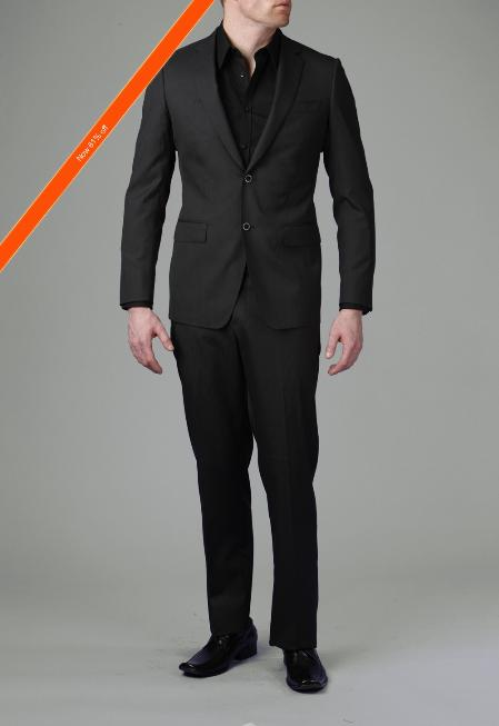2Button Liquid Black Modern Slim Suit