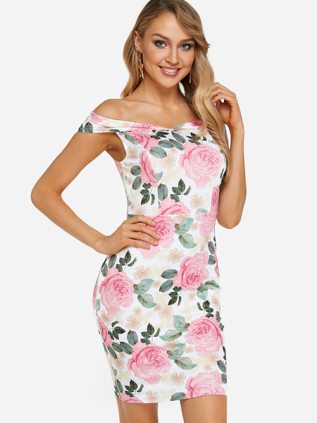 Yoins White Random Floral Print Off The Shoulder Dresses