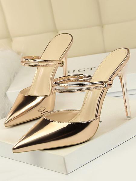 Milanoo Las sandalias de tacon alto de las mujeres calzan las sandalias sin respaldo de la punta del dedo del pie