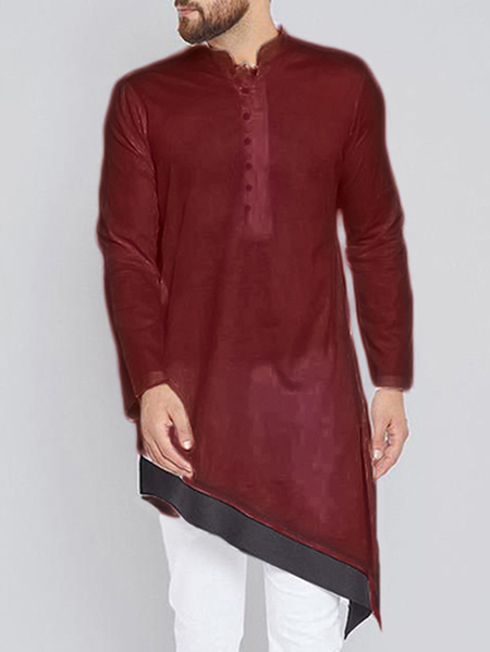 Yoins INCERUN Men Middle East Style Stitching Irregular Hem Middle Long Henley Shirt