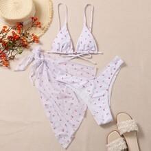 3 Paecke Dreieckiger Bikini Badeanzug mit Bluemchen Muster & Strandrock