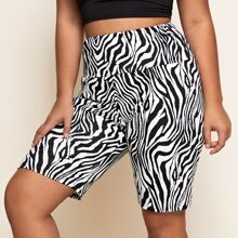 Plus Zebra Stripe Biker Shorts