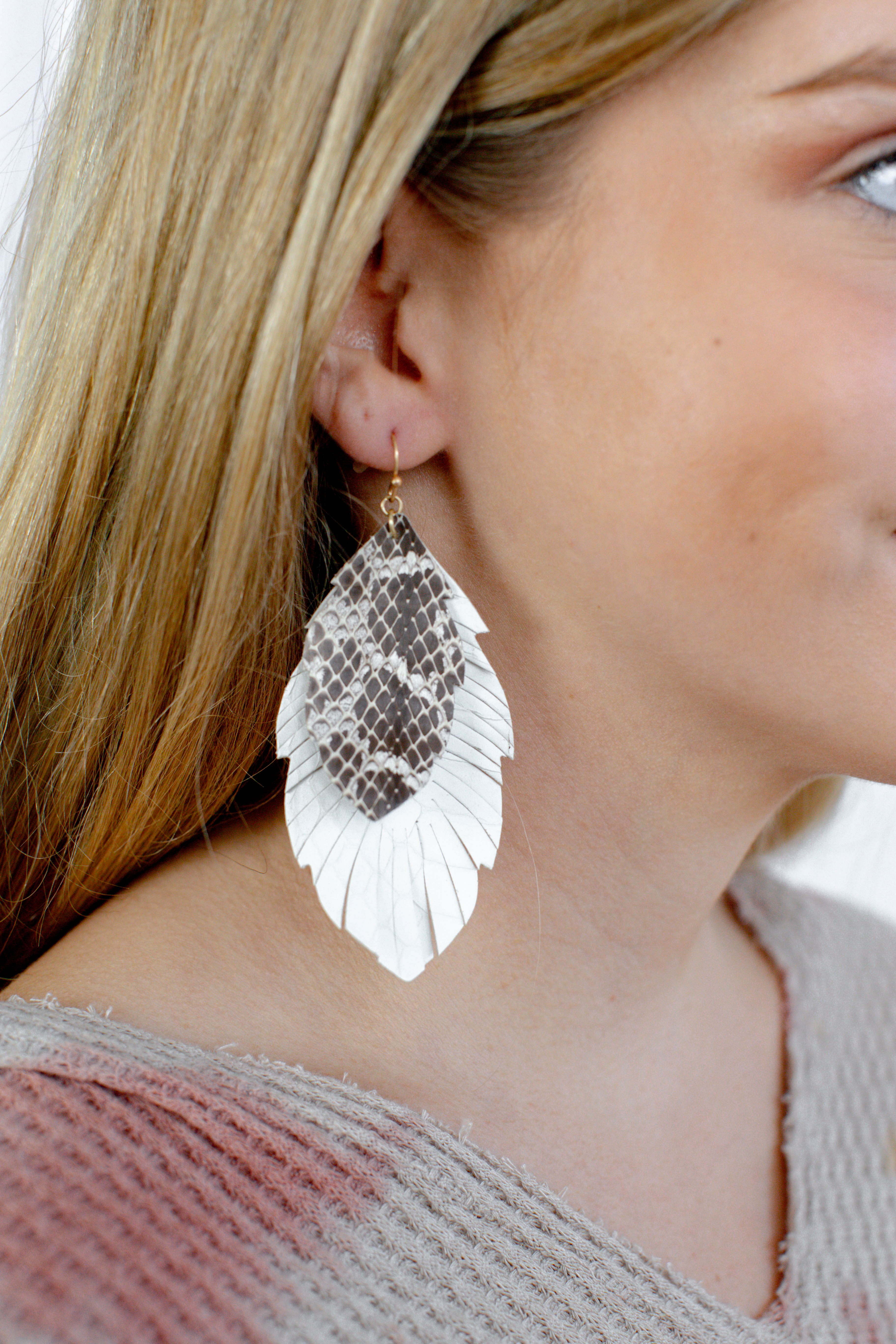 Double Layered Leather Feather Earrings Cream/Grey