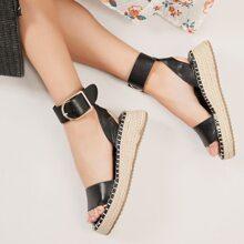 Buckled Ankle Open Toe Flatform Espadrille Sandals