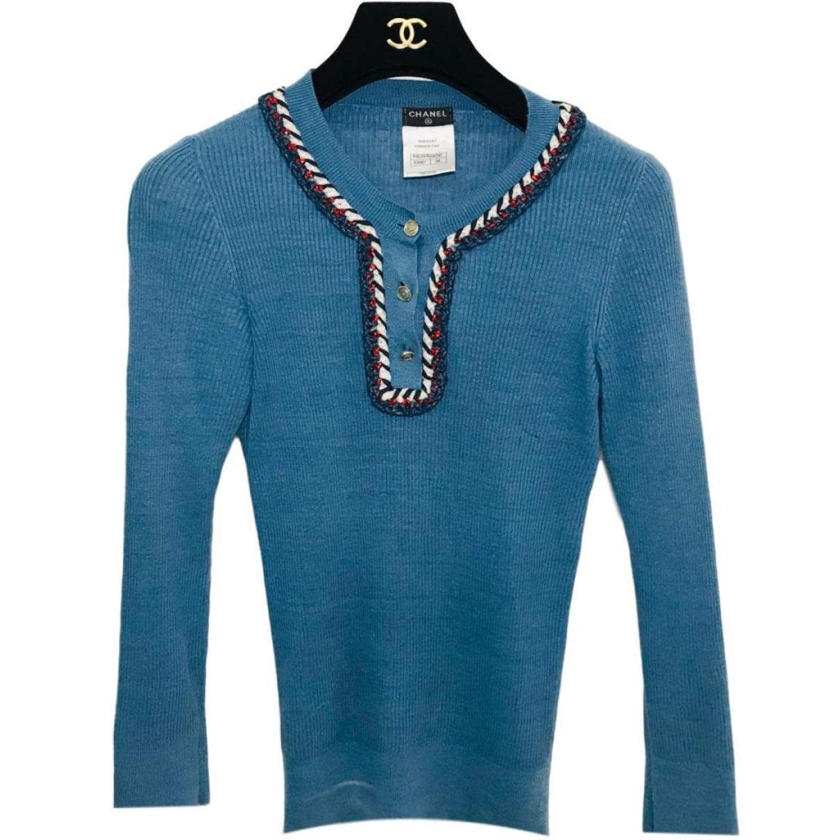 Chanel - Pull   pour femme en lin - bleu
