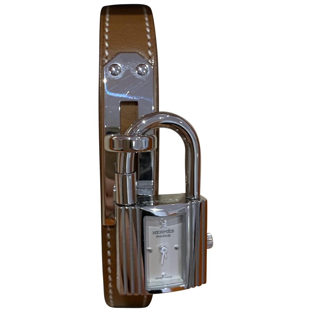 Hermes Kelly Uhr in  Kamel Stahl