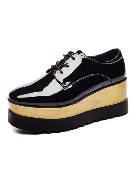 Milanoo Women Casual Shoes Black Square Toe Lace Up Platform Sneakers