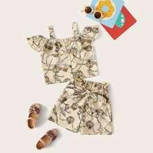 Toddler Girls Chain Print Cold Shoulder Blouse & Belted Shorts