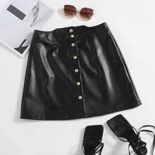 Button Front PU A-line Skirt