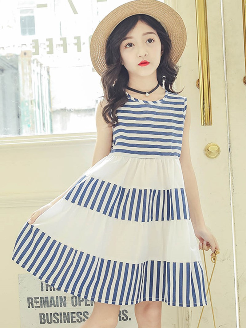 Ericdress Stripe Color Block A-Line Girl's Sleeveless Dress