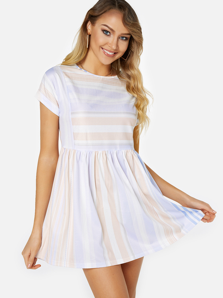 Yoins Light Blue Stripe Round Neck Short Sleeves Mini Dress