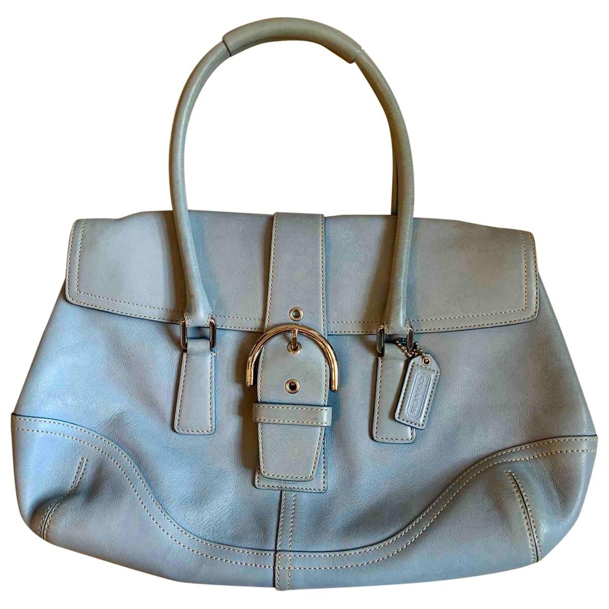 Coach Mercer satchel 24 Handtasche in  Blau Leder