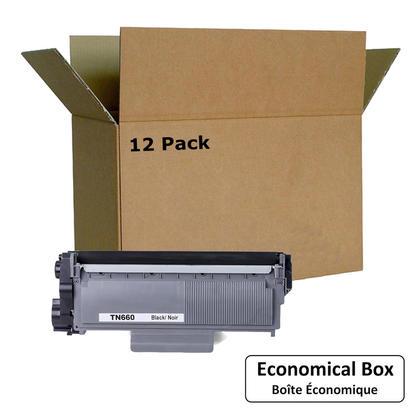 Compatible Brother TN-660 cartouche de toner noire - boite economique - 12/paquet