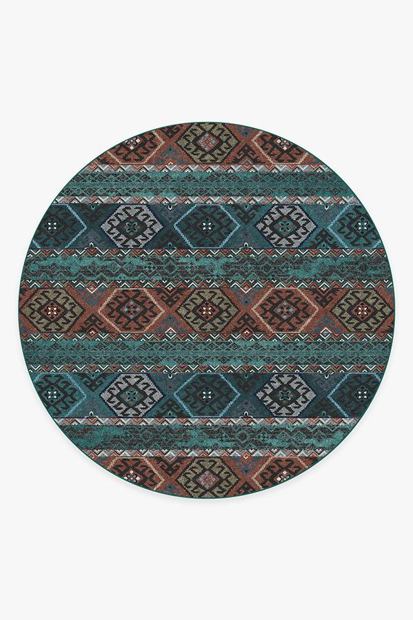 Washable Rug Cover & Pad | Lunara Geo Polychrome Rug | Stain-Resistant | Ruggable | 8' Round