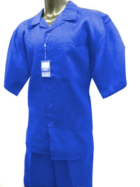 Men's Short Sleeve 2 Piece Solid Linen Royal Blue Walking Suit