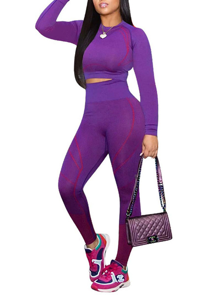 Milanoo Women Activewear Two Piece Sets Athletic Polyester Long Sleeves Jewel Neck Purple Top With Pants