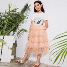 Girls Mixed Print Tee and Layered Mesh Skirt Set