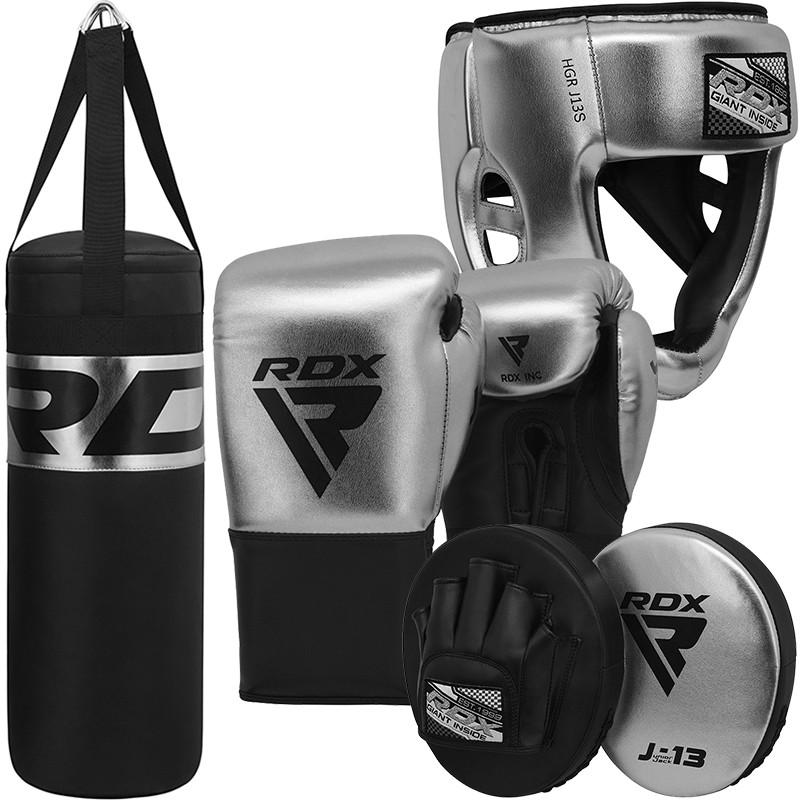 RDX J13  Gants de boxe, sac de boxe, casque de boxe et ensemble de Pattes Dours pour enfant Argent