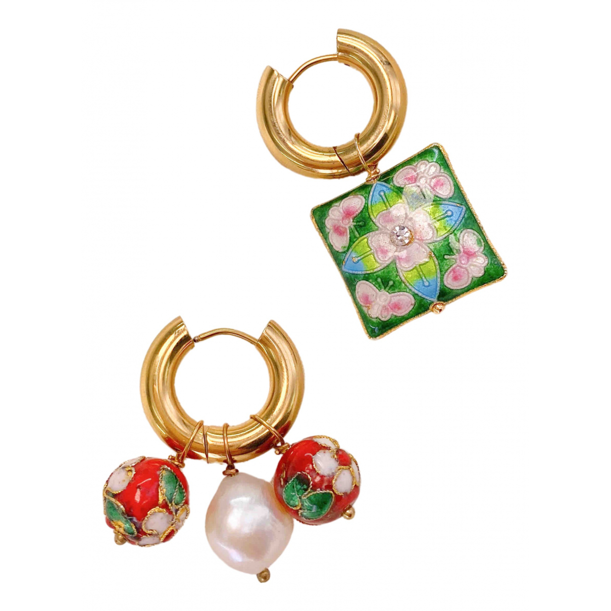 Non Signé / Unsigned Art Déco Multicolour Metal Earrings for Women \N