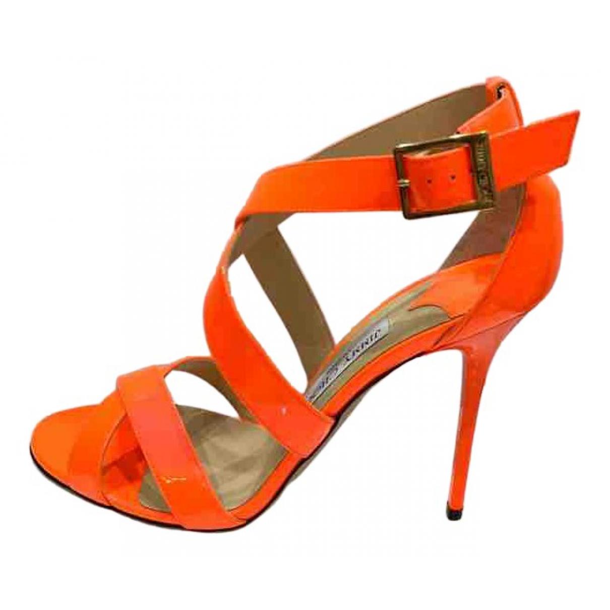 Jimmy Choo N Orange Patent leather Sandals for Women 40 EU