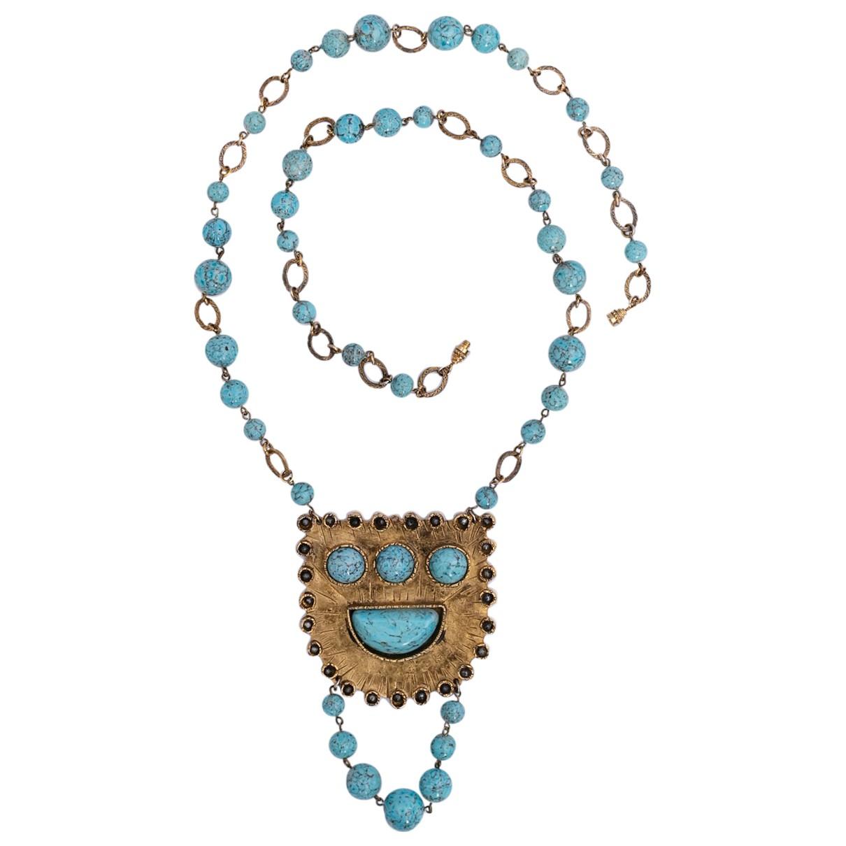 Guy Laroche N Turquoise Metal necklace for Women N