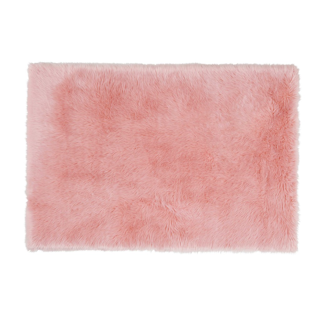 Teppich aus rosefarbenem Kunstpelz 120x180