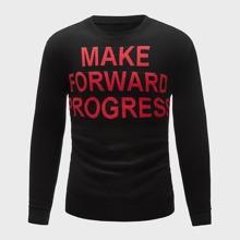 Men Slogan Graphic Round Neck Sweater