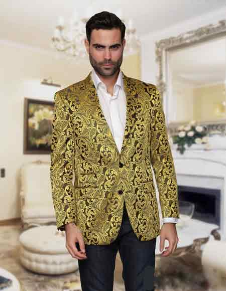 Sequin Paisley Gold Colorful Fashion Sport Coat Blazer Jacket