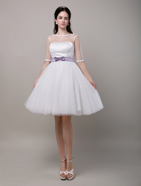 Milanoo Vintage Inspired Polka Dots Elbow Sleeves Tulle Wedding Dress with Illussion neckline