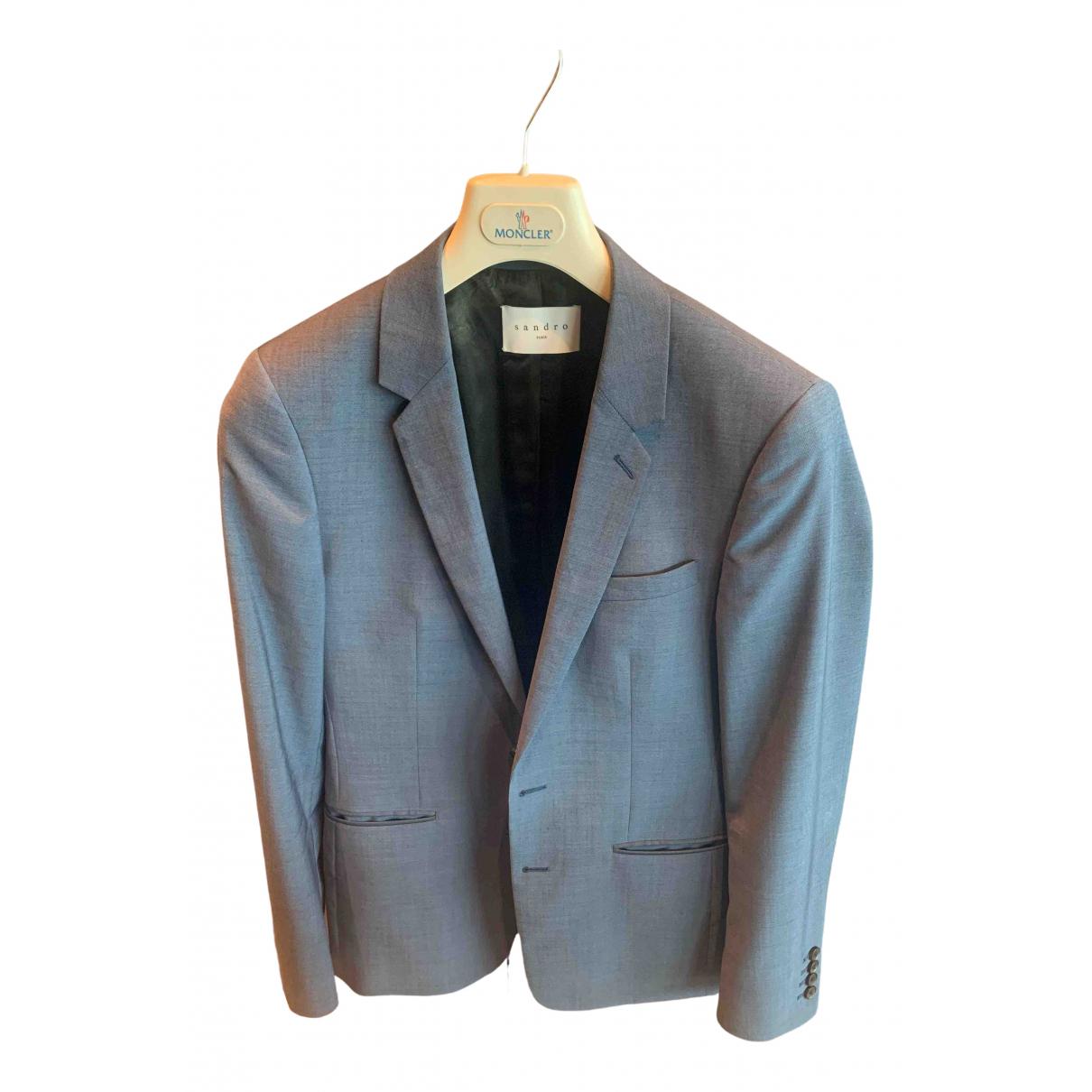 Sandro N Blue Wool Suits for Men 46 FR