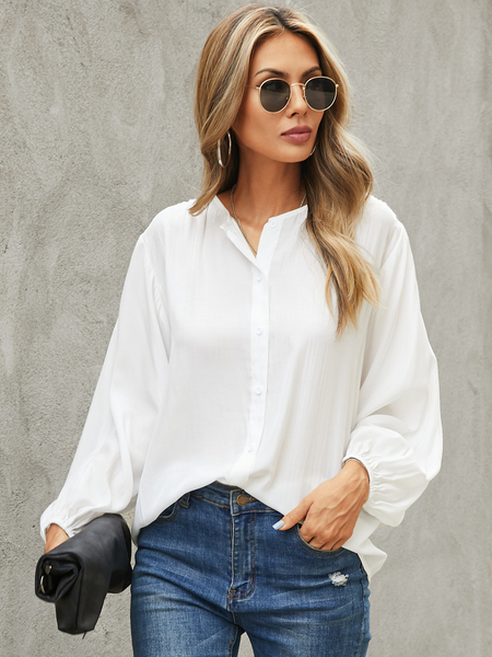YOINS Front Button Notch Collar Long Sleeves Blouse