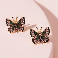 Ohrstecker mit graivertem Strass, Schmetterling Design 1 Paar