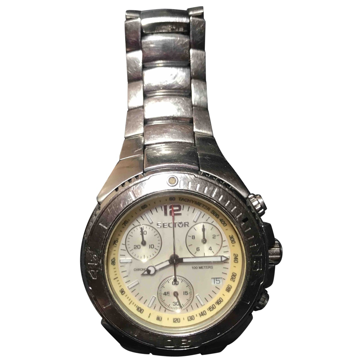 Non Signé / Unsigned \N Silver Steel watch for Men \N