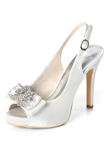 Milanoo Satin Mother Shoes Dark Navy Peep Toe Rhinestones Bow Slingbacks Wedding Shoes