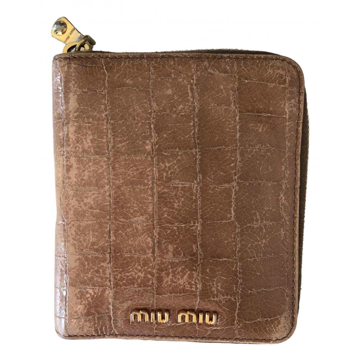 Miu Miu - Portefeuille   pour femme en cuir - camel