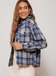 Flap Pocket Drop Shoulder Tartan Jacket