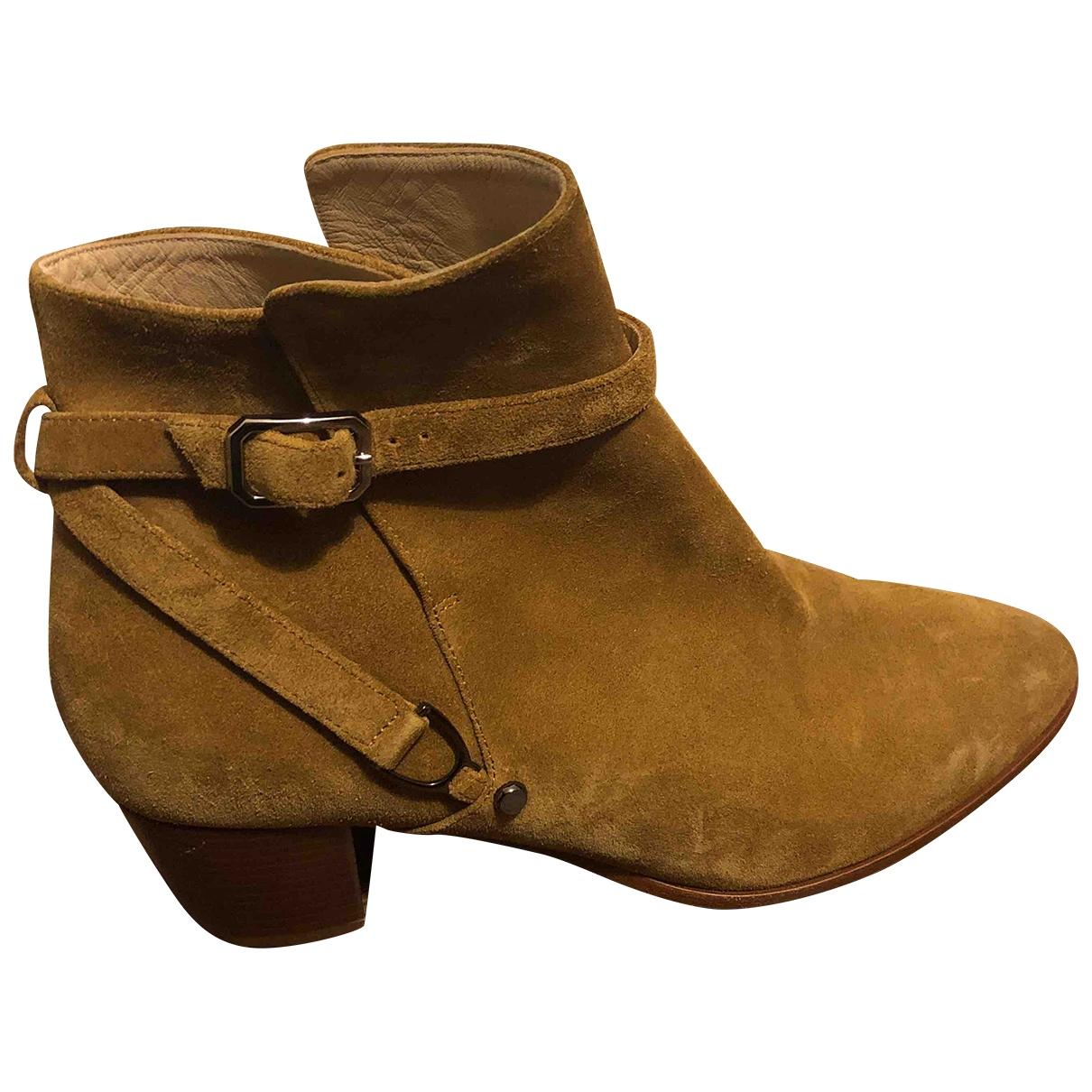 Longchamp - Boots   pour femme en suede - camel
