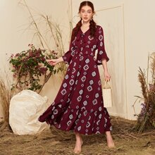 Tie Front Bell Sleeve Shirred Wide Hem Top and Skirt Set