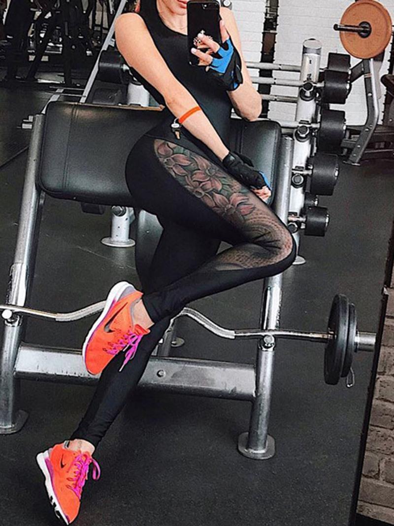 Ericdress Women Solid Patchwork Sport Gym Yoga Jumpsuits