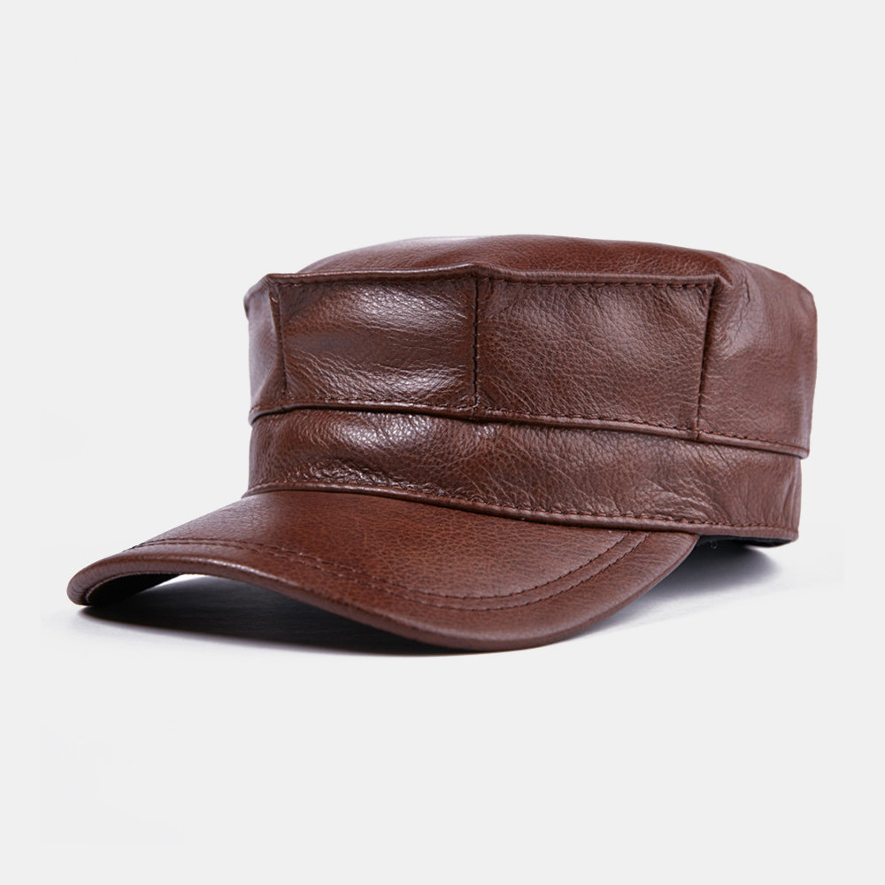 Leather Octagonal Hats Men's Flat Cap Fashion Warm Military Cap Earmuffs Caps