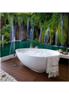 3D Waterfalls Forest Scenery PVC Waterproof Dampproof Sturdy Environmental Bathroom Wall Murals