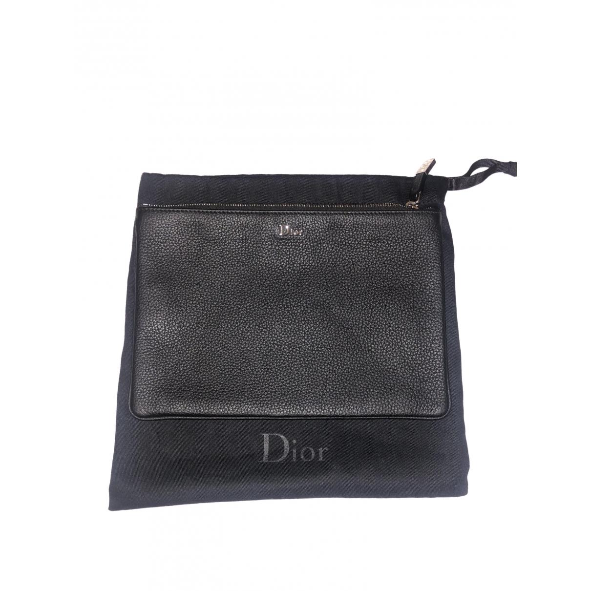 Dior \N Black Leather Small bag, wallet & cases for Men \N
