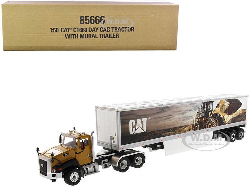 CAT Caterpillar CT660 Day Cab with Caterpillar Mural Dry Van Trailer Transport Series 1/50 Diecast Model by Diecast Masters
