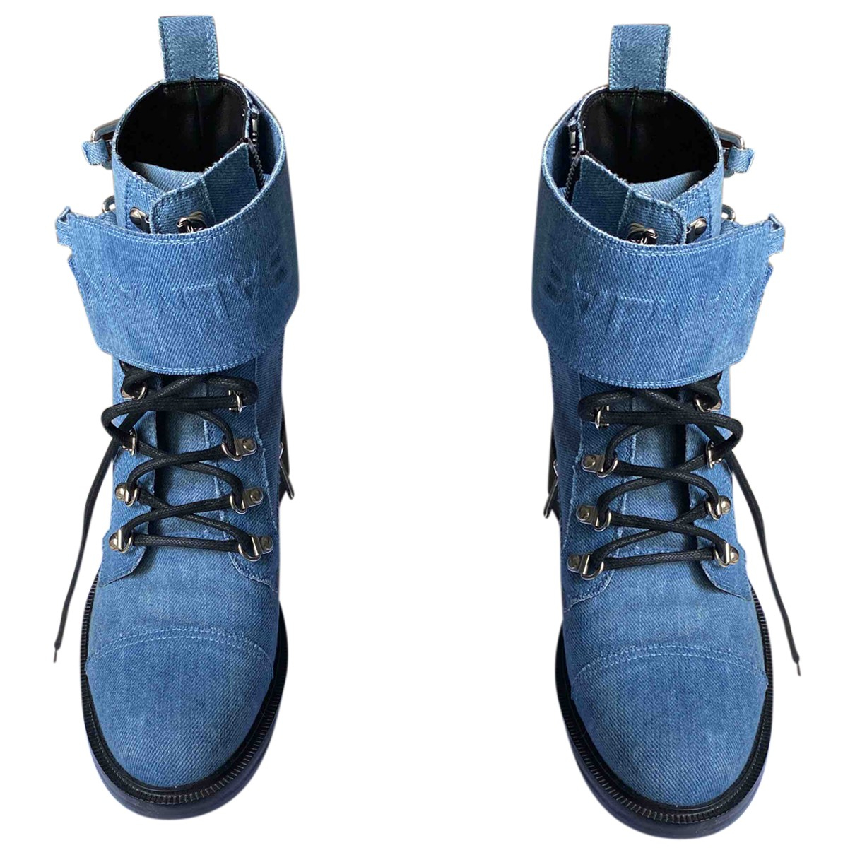 Balmain \N Stiefeletten in  Blau Leinen