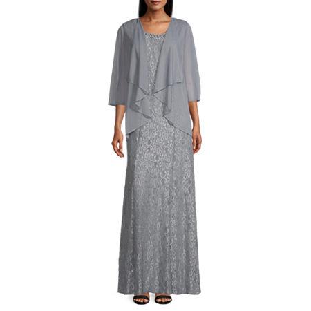 R & M Richards ¾ Sleeve Jacket Dress, 14 , Silver