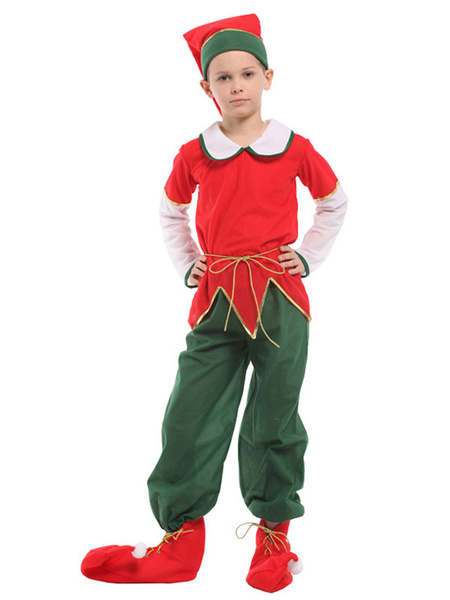 Milanoo Christmas Elf Costume Kids Top Pants 5 Piece Set For Boys Halloween
