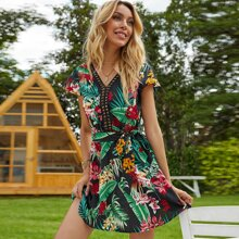 Hollow Out Tropical Print Belted Dress